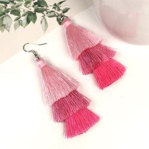 Hot Pink Tiered Tassel Dangle Earrings